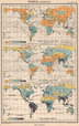 WORLD RAINFALL & WINDS. January July Mean annual. BARTHOLOMEW 1952 old map